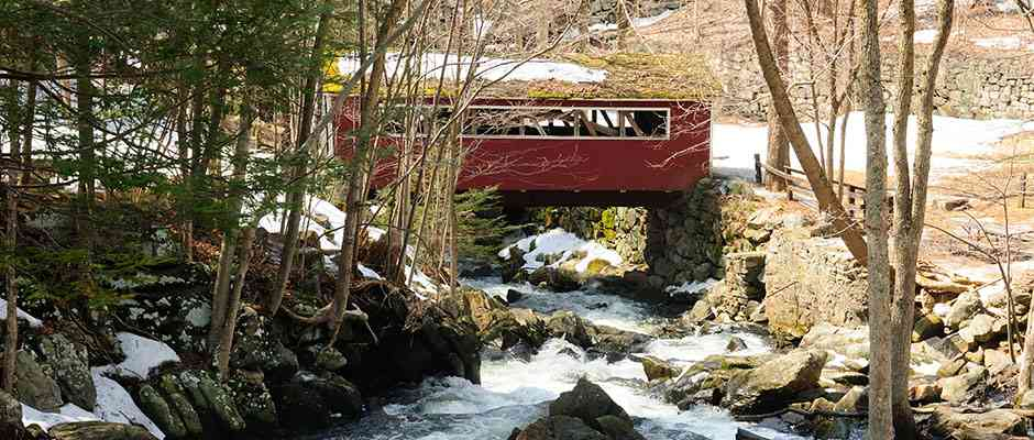 Covered bridge at Southford Falls, CT