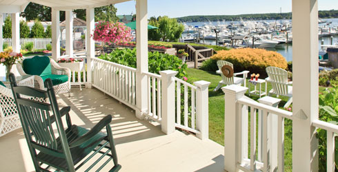 Porch at Morning 500x250 - Inn at Harbor Hill Marina B&B - Niantic, CT