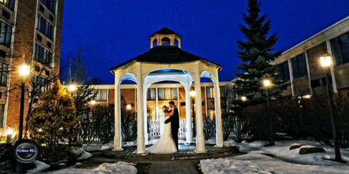 Winter Evening Gazebo 500x250 - Ethan Allen Hotel - Danbury, CT