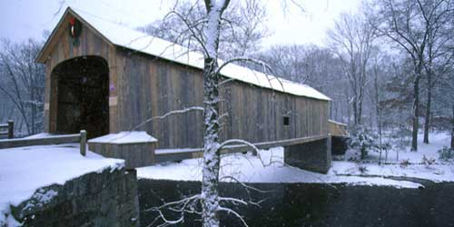 Comstock Bridge in snow-credit-CT Office of Tourism