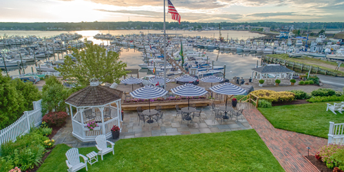 Patio & Dock View - Inn at Harbor Hill Marina - Niantic, CT