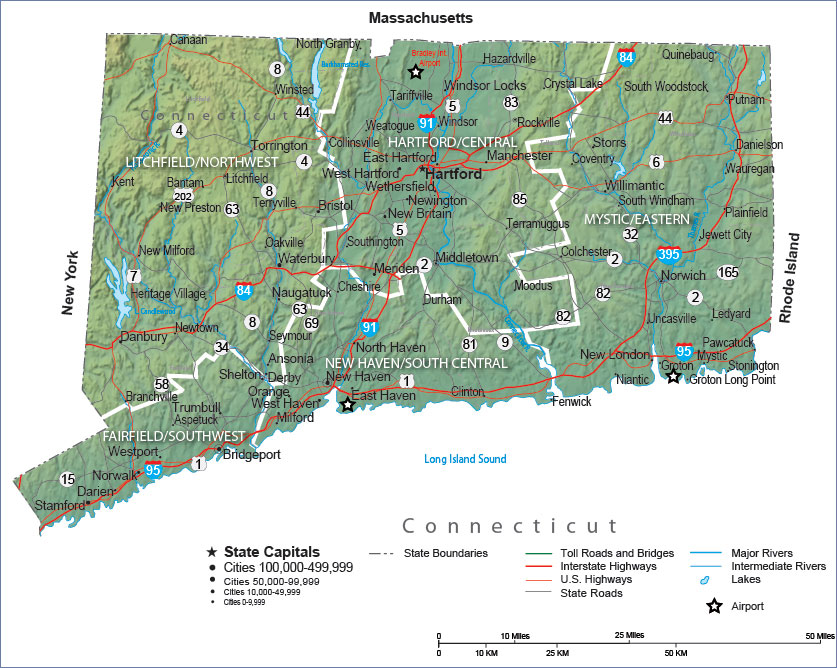 Connecticut State Map And Travel Guide - Conneticut map
