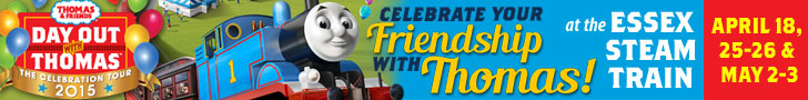 Celebrate your friendship Thomas at the Essex Steam Train's Day Out with Thomas! April 18, 25-26 and May 2-3, 2015. Click for more info!