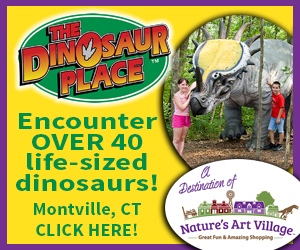 The Dinosaur Place at Nature's Art Village - Montville, CT - Encounter over 40 life-sized dinosaurs!