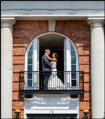 Bride & Groom at Balcony 2 - Inn at Middletown - Middletown, CT